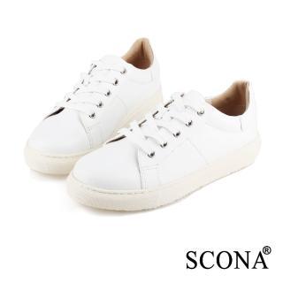 【SCONA 蘇格南】全真皮 個性綁帶厚底休閒鞋(白色7242-2)