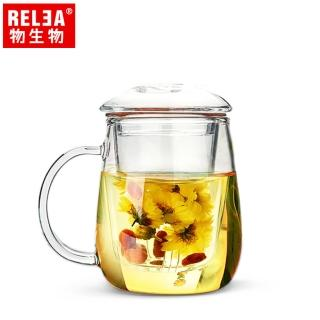 【RELEA 物生物】320ml小蘑菇耐熱玻璃泡茶杯(附濾茶器)