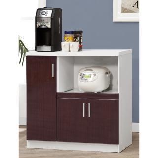 【CHEERFUL】鐵刀木色鏡面板廚房收納櫃-90公分寬(廚房櫃/置物櫃/E1等級板材)