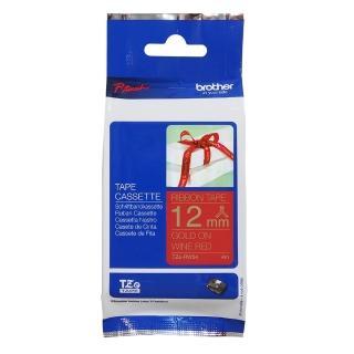 【Brother】TZe-RW34 絲質緞帶標籤帶  12mm 酒紅底金字(速達)