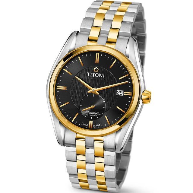 【TITONI 瑞士梅花錶】Airmaster 空中霸王系列-黑色錶盤不鏽鋼間金色錶帶/40mm(83709 SY-501)