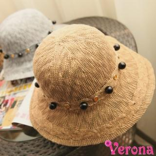 【Verona】寶石珍珠可折疊漁夫帽防曬帽(多色可選)