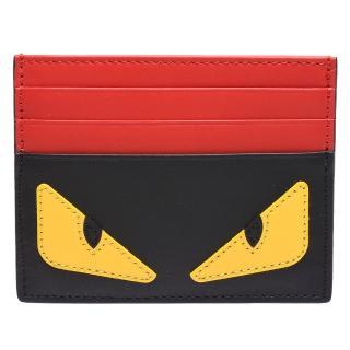 【FENDI】經典BUGS系列小毛怪造型小牛皮萬用票卡/證件名片夾(紅X黑7M0164-O73-F0U9T)