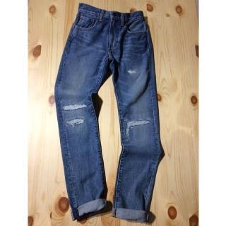 【Levis】505C 復古直筒小窄管牛仔褲 / 硬挺厚磅 / 破壞補丁
