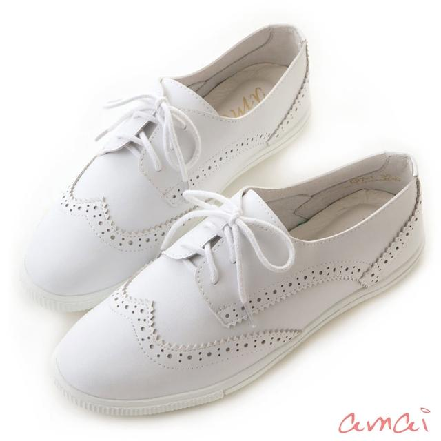 【amai】柔軟皮革雕花綁帶休閒鞋(白)