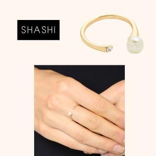 【SHASHI】紐約品牌 MONA 珍珠白鑽雙墜 C型戒指 925純銀鑲18K金 可調式(可調式戒圍)