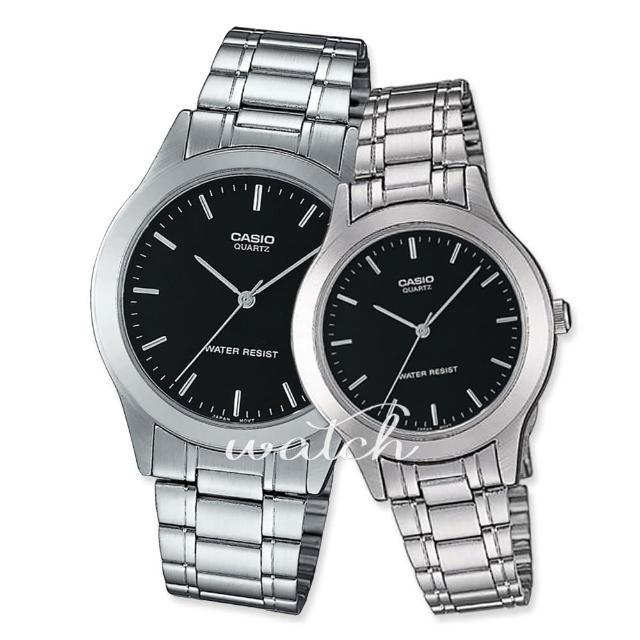 【CASIO 卡西歐 對錶系列】不鏽鋼錶帶_指針_情人對錶(MTP-1128A+LTP-1128A)