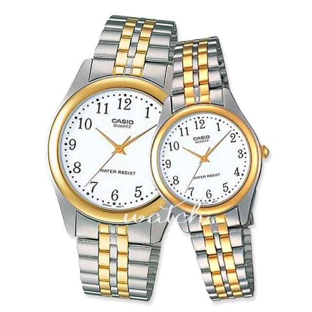 【CASIO 卡西歐 對錶系列】情侶首選_不鏽鋼錶帶_指針_情人對錶(MTP-1129G+LTP-1129G)
