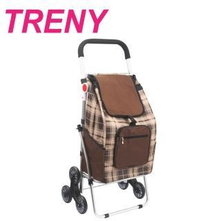 【TRENY】鋁合金購物車 - 咖啡格(菜籃車 手推車 9316-7)