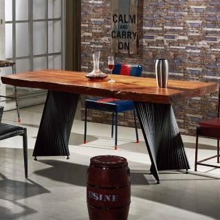 【AT HOME】工業風設計6.6尺實木鐵藝餐桌/工作桌(強森)