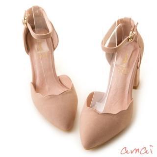 【amai】舒適首選-浪漫花瓣尖頭繫踝粗跟鞋(粉)