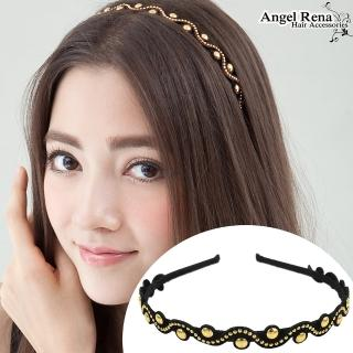 【Angel Rena】波浪麂皮亮珠髮箍(黑色)