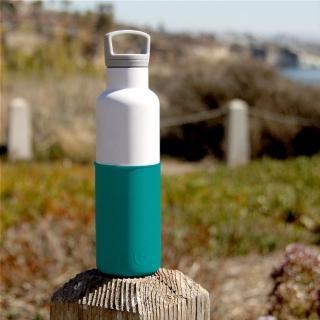 【美國HYDY時尚保溫瓶】CinCin系列_深青-白瓶(不銹鋼保溫水瓶 - 590ml_保冰24小時_保溫12小時)
