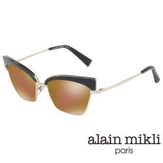 【alain mikli 法式巴黎】俐落貓眼金屬眉框造型太陽眼鏡(黑 AL4005-004)