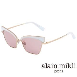 【alain mikli 法式巴黎】俐落貓眼金屬眉框造型太陽眼鏡(粉白  AL4005-002)