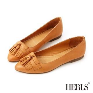 【HERLS】全真皮復古流蘇樂福鞋(棕色)