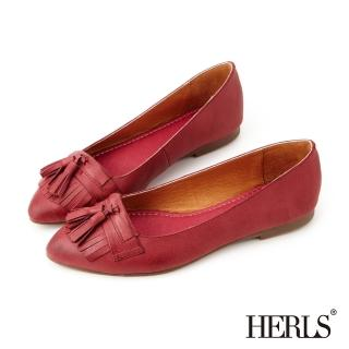 【HERLS】全真皮復古流蘇樂福鞋(酒紅)