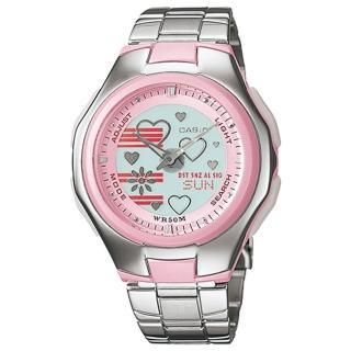 【CASIO】Poptone系列可愛甜心雙顯指針錶(LCF-10D-4A)
