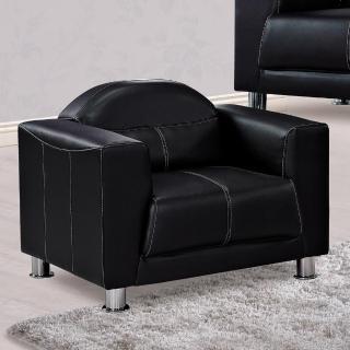 ~H  D~班克斯黑皮沙發單人椅 沙發