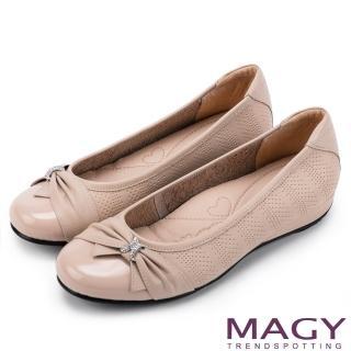 【MAGY瑪格麗特】氣質甜美女孩 牛皮抓皺蝴蝶結鑽飾平底娃娃鞋(粉紅)