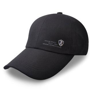 【活力揚邑】防曬防紫外線防風戶外運動透氣鴨舌帽盾形F刺繡棒球帽(黑)