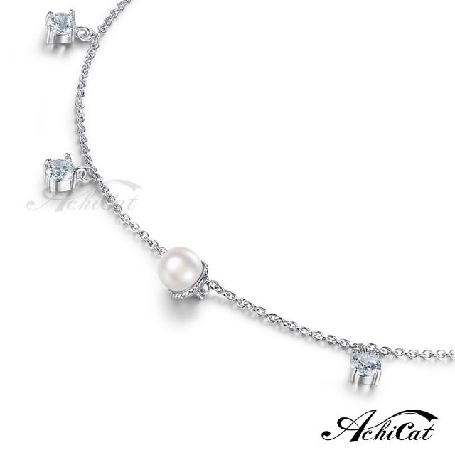 【AchiCat】腳鍊 正白K 氣質佳人 仿珍珠 銀色 J6002