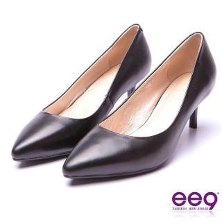 【ee9】典雅簡約-全真牛皮簡約素面百搭跟鞋* 黑色(跟鞋)