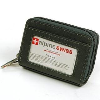 【預購Alpine Swiss】2017瑞士十迷你信用卡碳黑色拉鍊管理夾包-網(預購)