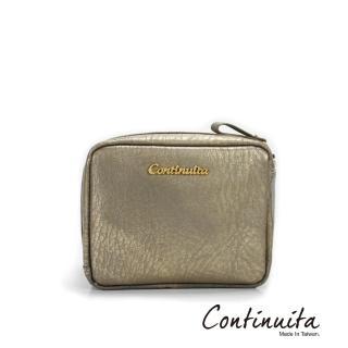 【Continuita 康緹尼】頭層牛皮日本愛美女孩方形手拿化妝包(金色)