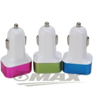 【OMAX】車用3孔USB充電器-2入(顏色隨機)