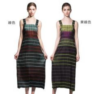 【糖潮】婉約條紋無袖圓領壓摺洋裝(共二色)