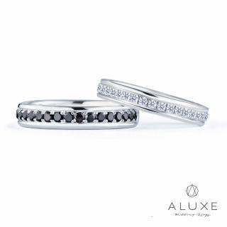 【A-LUXE 亞立詩】18K金 黑白鑽石情侶對戒