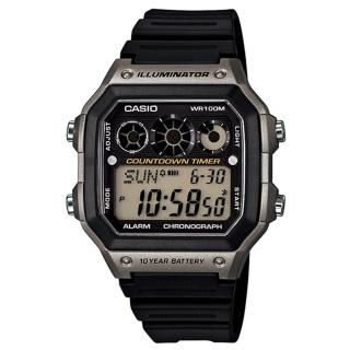 【CASIO】十年電池數位錶-銀框(AE-1300WH-8A)