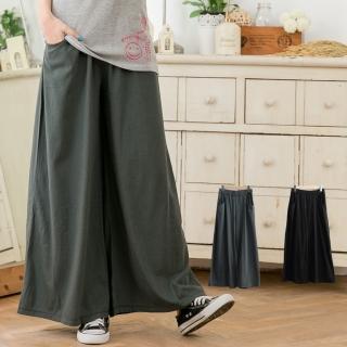 【衣心衣意中大尺碼】素色休閒口袋腰鬆緊顯瘦褲裙(黑-灰B8031)