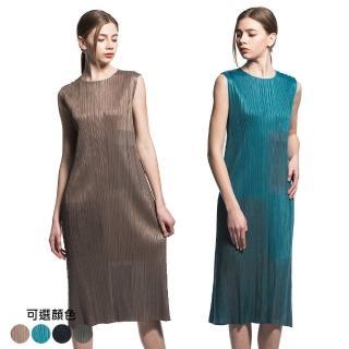 【糖潮】優雅修身圓領無袖壓摺洋裝(共二色)