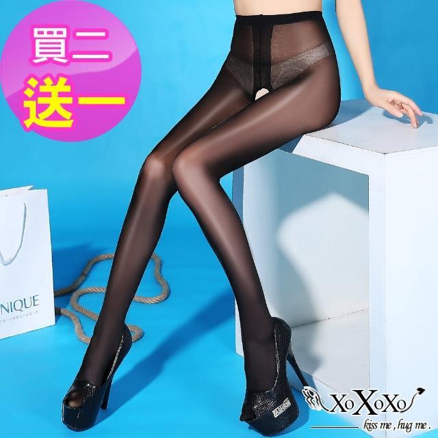 【XOXOXO】性感美色薄透油亮開襠褲襪(買2送1)