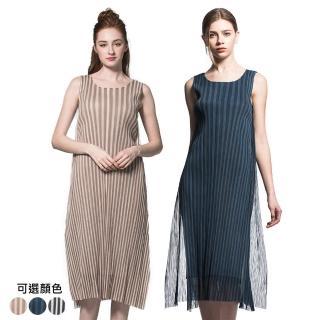 【糖潮】優雅無袖直條紋網紗壓摺洋裝(共二色)