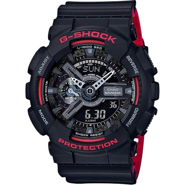 【CASIO】卡西歐 G-SHOCK 人氣經典紅黑雙顯手錶(GA-110HR-1ADR)