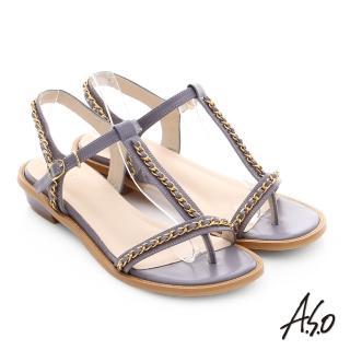 【A.S.O】嬉皮假期 金屬鍊條拼接牛皮T字涼鞋(淺紫)