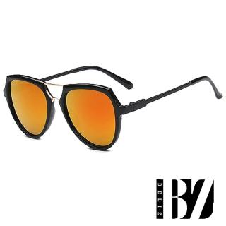 【BeLiz】反射漸變*金屬交錯黑圓框墨鏡/夕陽橘