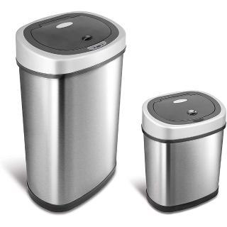 【美國NINESTARS】時尚不銹鋼感應垃圾桶50L+12L(買大送小廚衛優惠組)