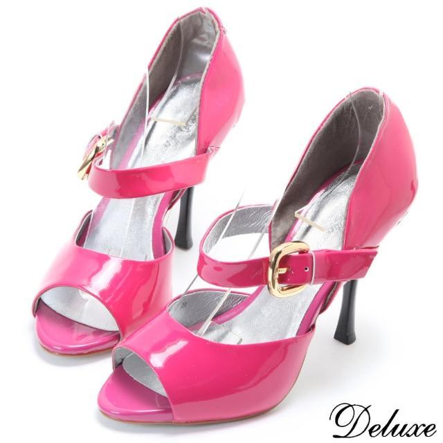 【Deluxe】時尚優雅甜美環帶魚口高跟鞋(桃紅)