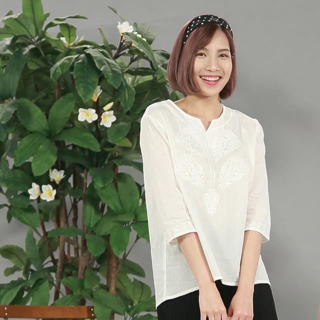 L'LAR100%棉精緻影繡修身上衣3件組(X)