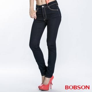 【BOBSON】女款超彈力中腰貼腿小直筒褲(8029-52)