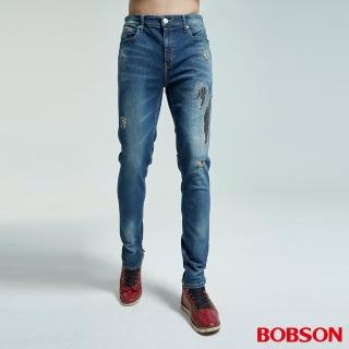【BOBSON】男款大彈力補釘窄管褲(1829-53)