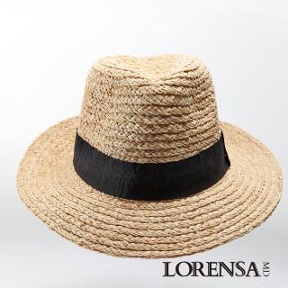 【Lorensa蘿芮】天然拉菲亞草時尚個性遮陽紳士帽(大頭圍)