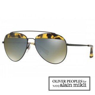 【alain mikli × Oliver Peoples 聯名款】法式巴黎 金屬雙樑眉框飛行員造型太陽眼鏡(深玳瑁  AL4004-007)