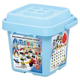【Artec 日本彩色積木】收納積木桶112塊