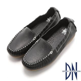 【DN】舒適柔軟 全真皮手工縫線莫卡辛豆豆鞋(黑)