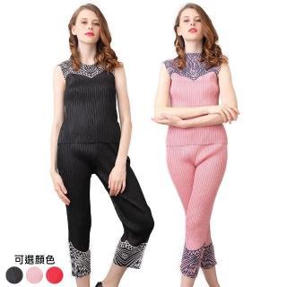 【糖潮】時尚印花圓領無袖兩件式壓摺套裝(共二色)
